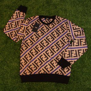 Fendi Tan Zucca FF Print Crewneck Sweatshirt
